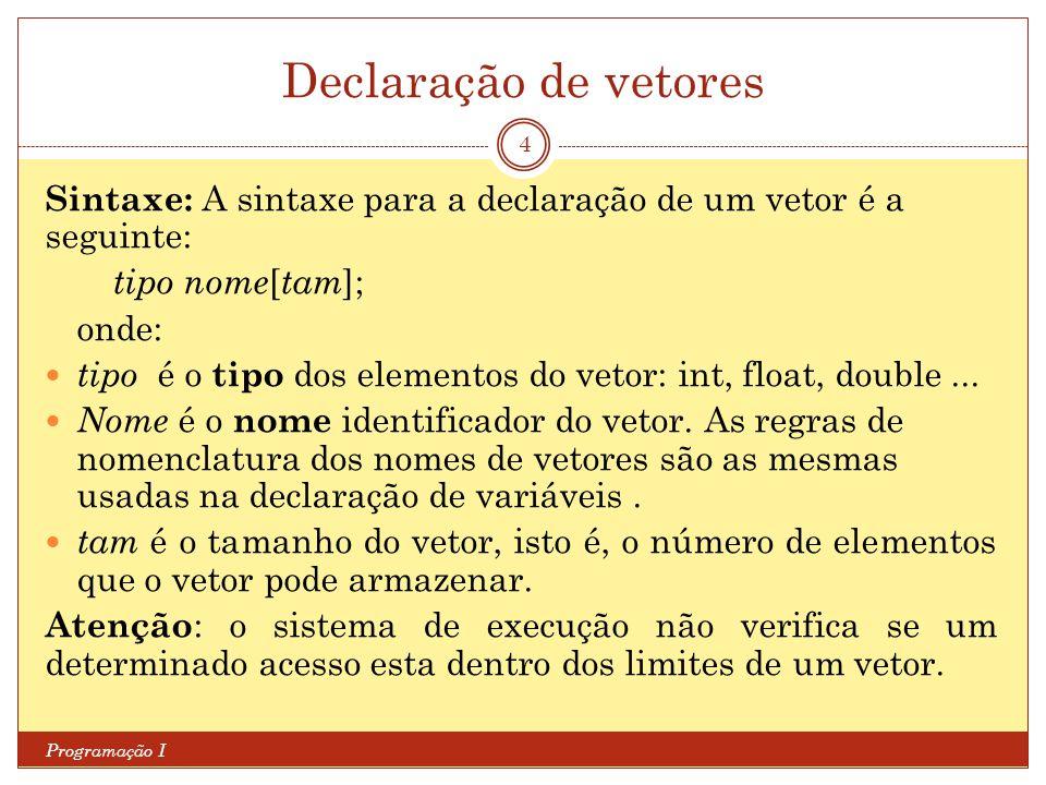 Declaração de vetores Sintaxe: A sintaxe para a declaração de um vetor é a seguinte: tipo nome[tam];